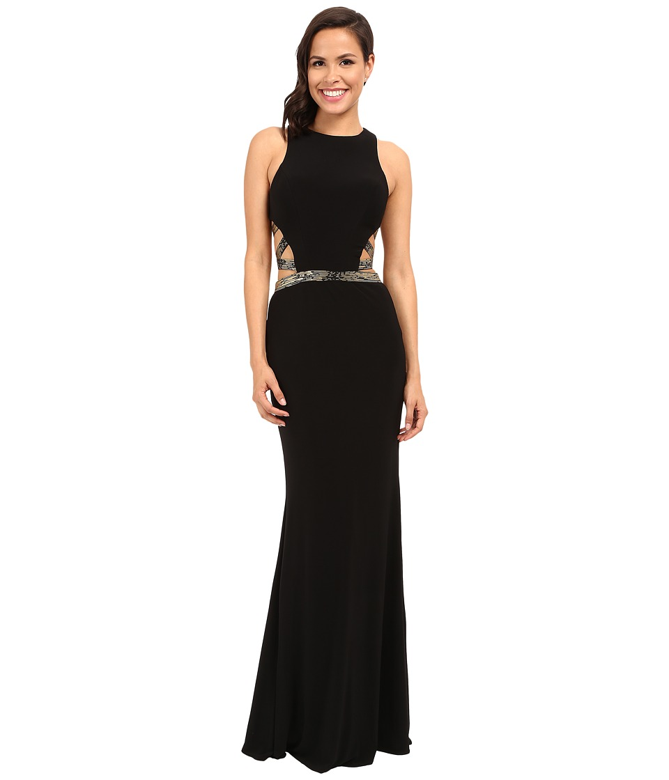 Faviana - Jersey Scoop Neck Gown with Elastic Bands and Cut Outs 7734 (Black/Gold) Women's Dress