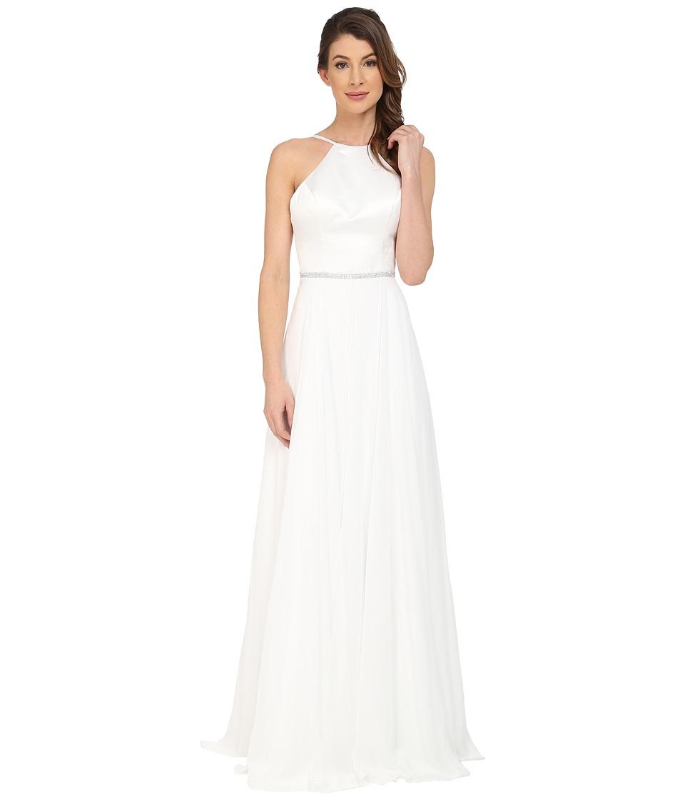Faviana Satin Halter Gown with Full Chiffon Skirt and Rhinestone Waistband 7761 (Ivory) Women