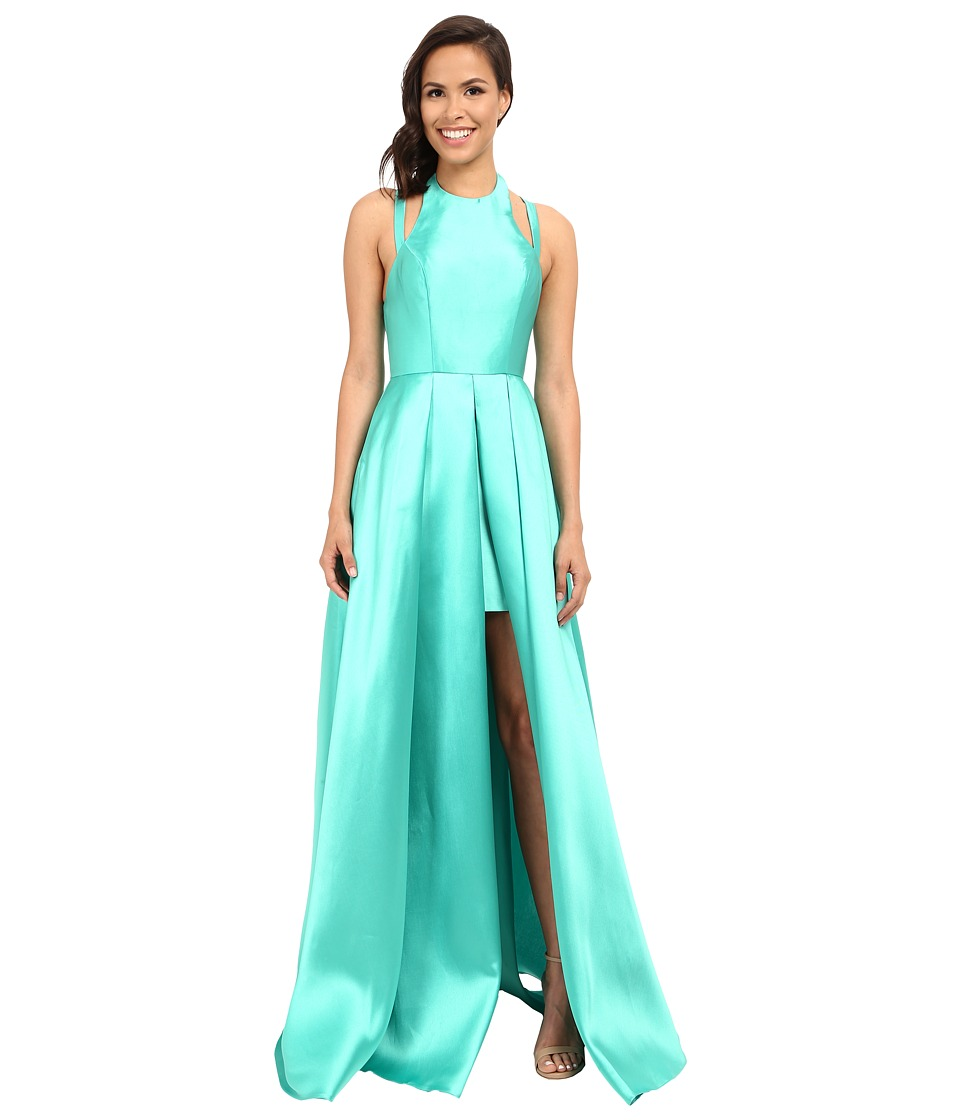 Faviana - Frosted Satin Gown with Split Front Overskirt 7752 (Spearmint) Women's Dress