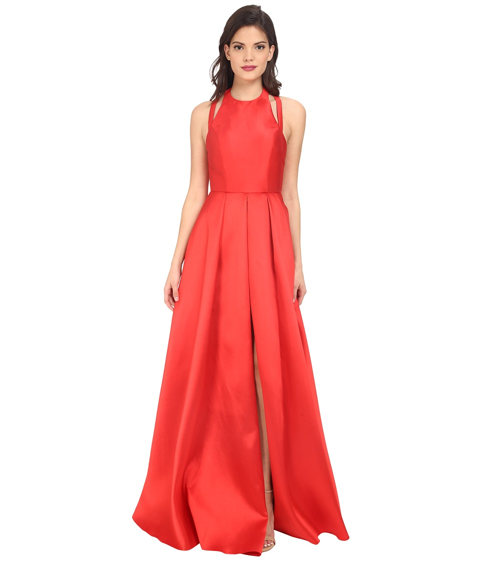 Faviana - Frosted Satin Gown with Split Front Overskirt 7752 (Red) Women's Dress