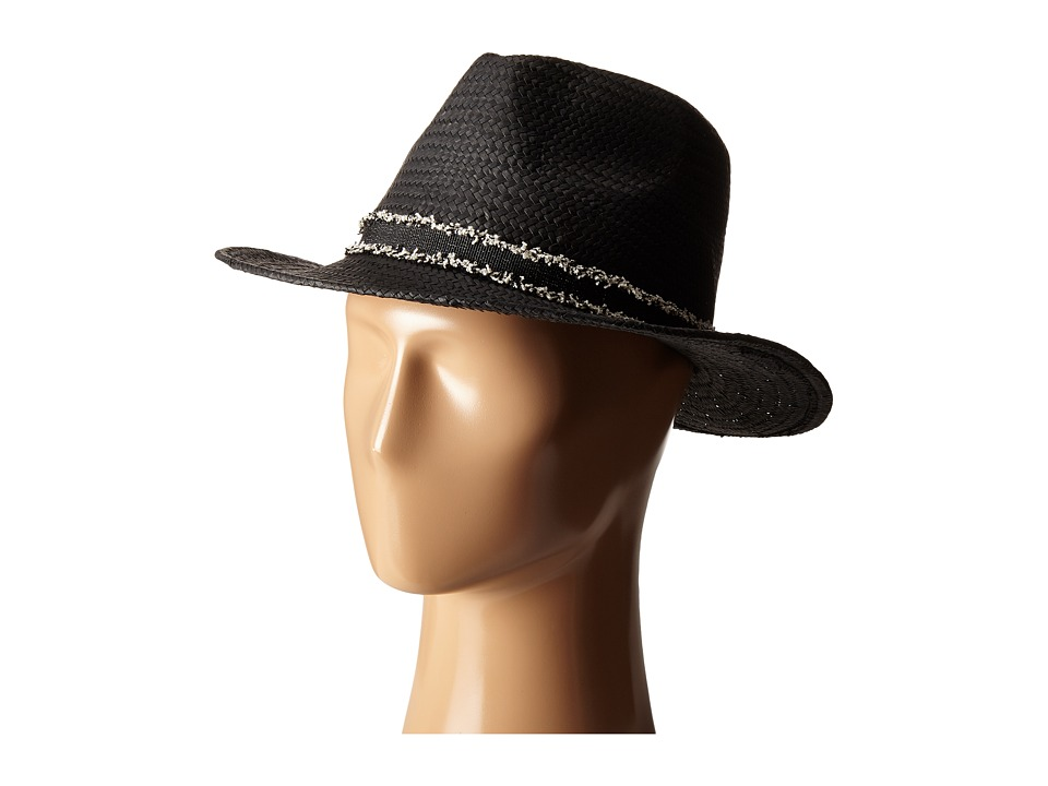 Vince Camuto - Frayed Band Panama Hat (Black) Caps