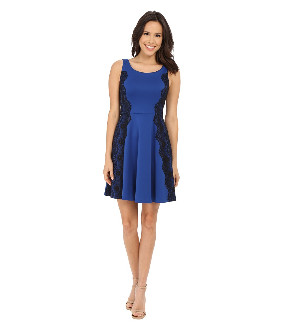 Jessica Simpson Scuba Fit and Flare Dress with Lace (Cobalt/Black) Women