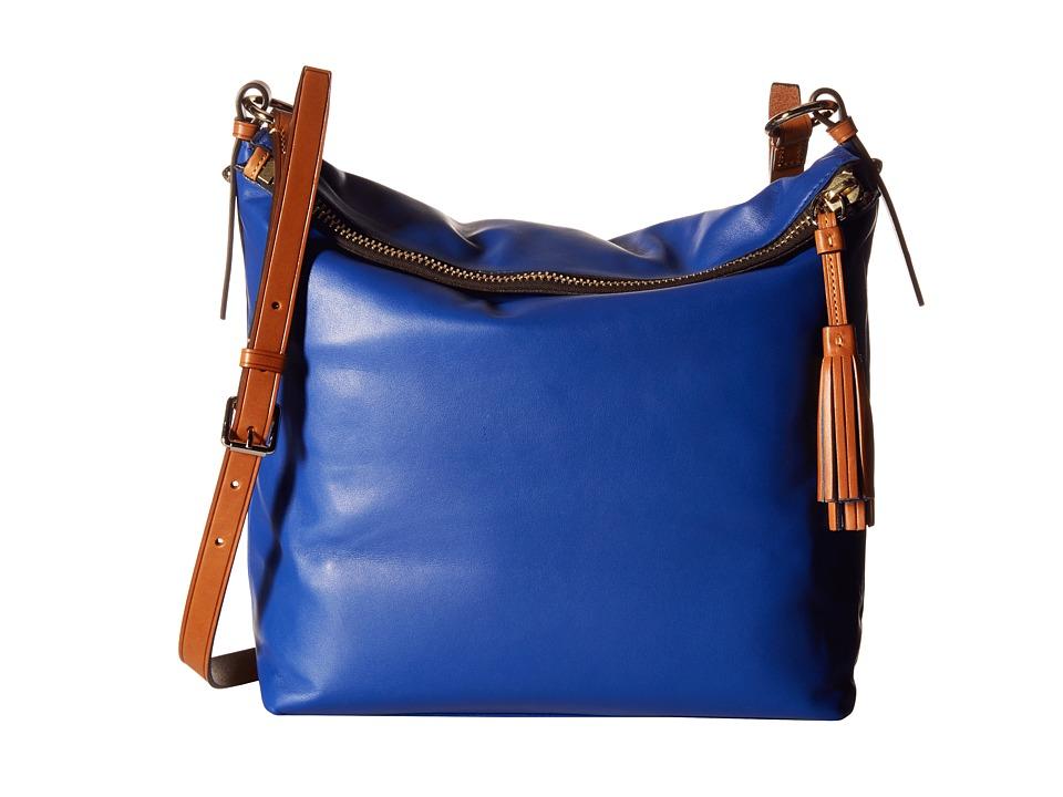 Dooney & Bourke - Newbury Leather Dixon Crossbody (Cobalt w/ Natural Trim) Cross Body Handbags