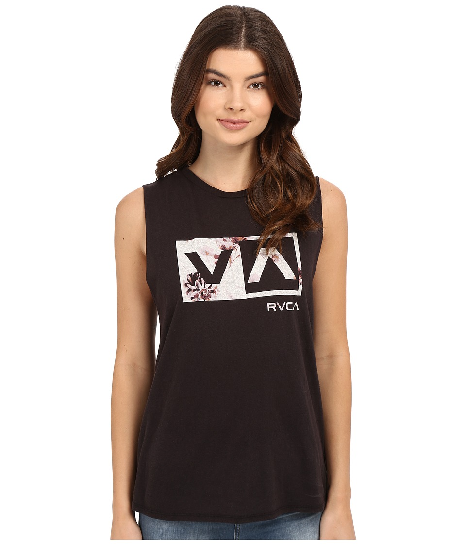 RVCA - Misty Flora Box Tank Top (Black) Women's Sleeveless