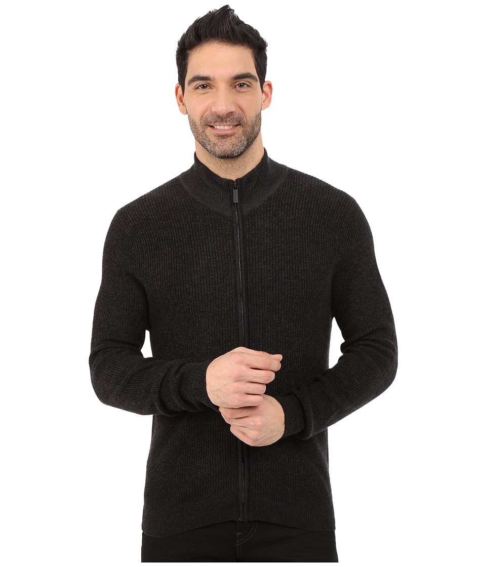 Perry Ellis - Marled Textured Full Zip Sweater (Charcoal Heather) Men