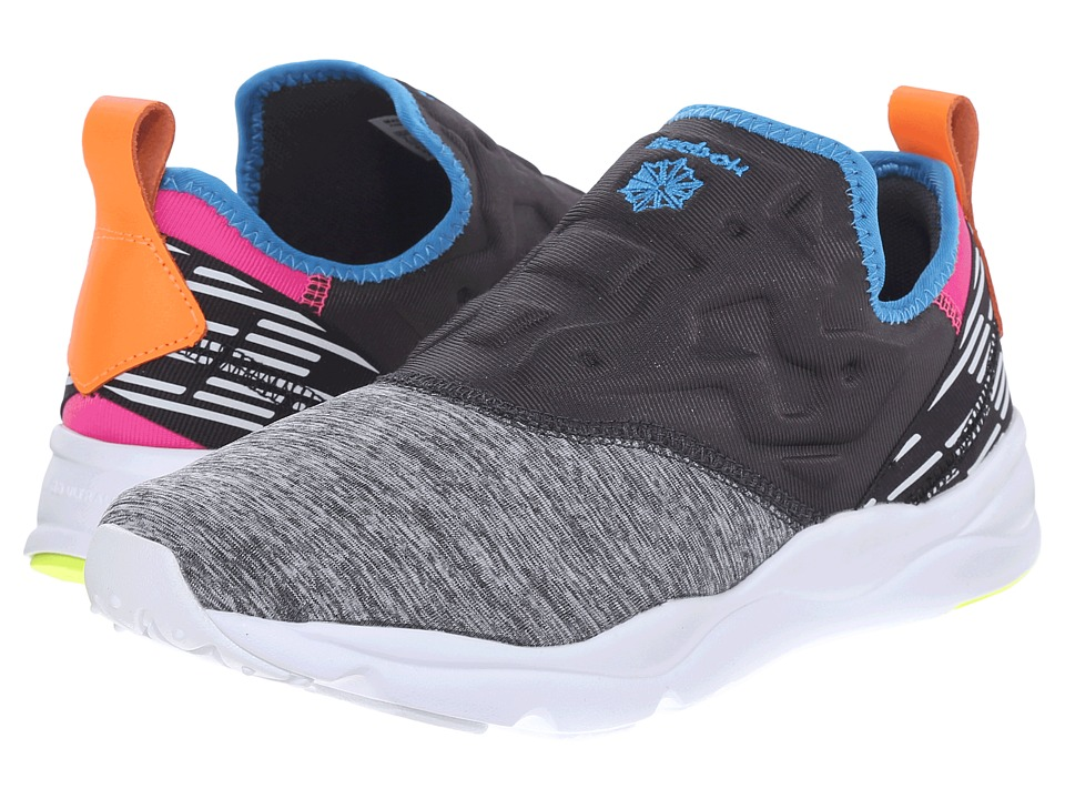 Reebok Lifestyle - Furylite Slip-On Lux (Coal/Electric Blue/Dynamic Pink/Electric Peach/Yellow) Women's Shoes