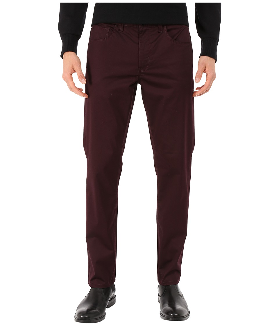 Perry Ellis - Slim Fit Solid Sateen Five-Pocket Pants (Port) Men's Casual Pants