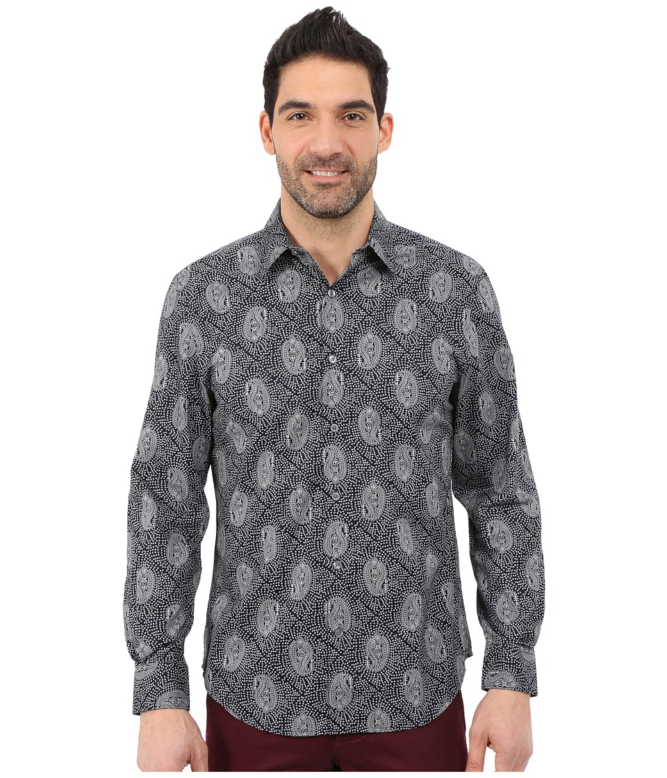 Perry Ellis - Long Sleeve Paisley Dot Shirt (Dark Sapphire) Men's Long Sleeve Button Up