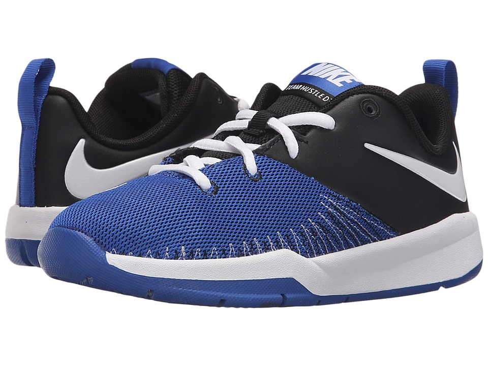 Nike Kids - Team Hustle D 7 Low (Little Kid) (Black/White/Game Royal) Boys Shoes