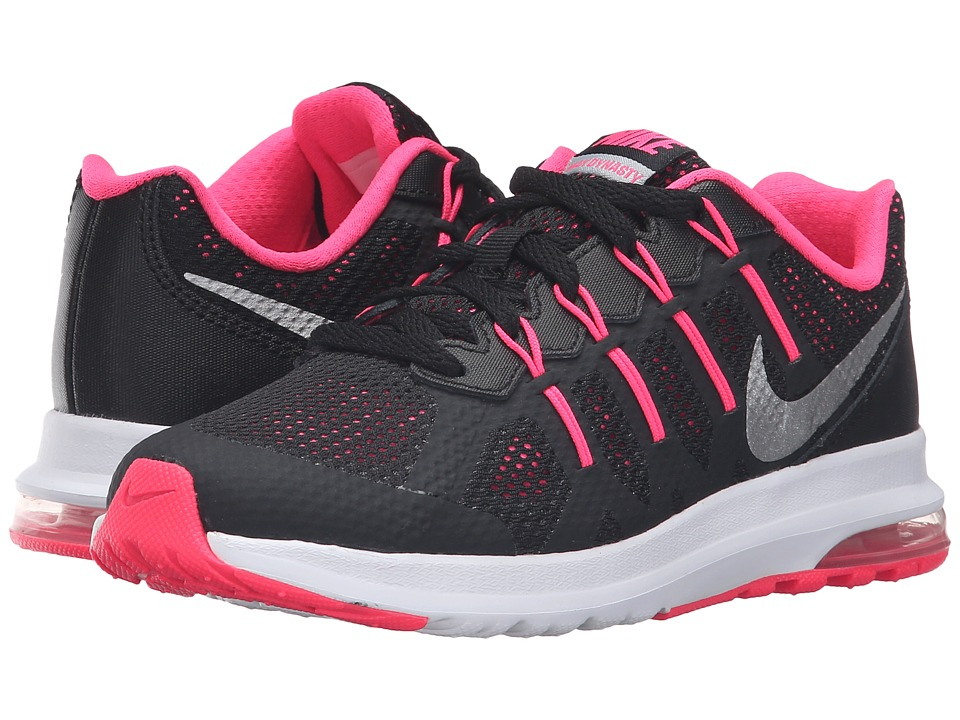 Nike Kids - Air Max Dynasty GP (Little Kid) (Black/Metallic Silver/Hyper Pink/Wolf Green) Girls Shoes