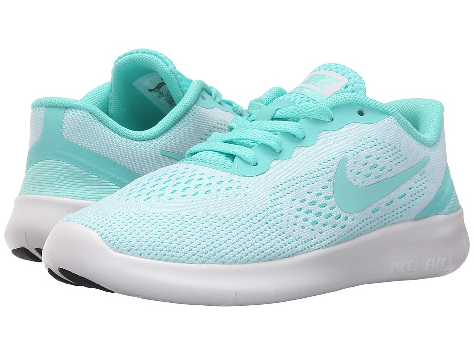 Nike Kids - Free RN (Little Kid) (White/Hyper Turquoise/Black) Girls Shoes