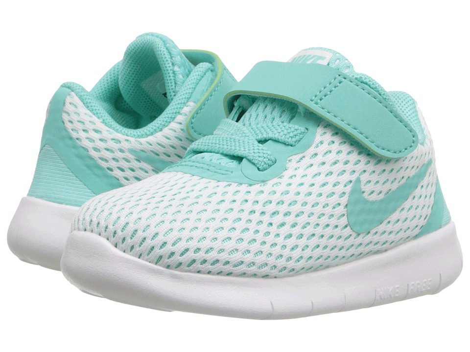 Nike Kids - Free RN (Infant/Toddler) (White/Hyper Turquoise/Black) Girls Shoes