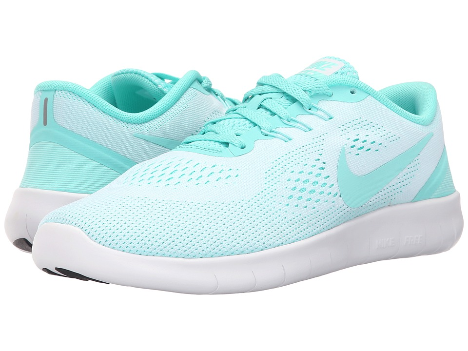 Nike Kids - Free RN (Big Kid) (White/Hyper Turquoise/Black) Girls Shoes