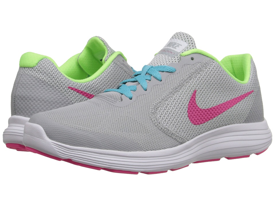 Nike Kids - Revolution 3 (Big Kid) (Wolf Grey/Vivid Pink/White/Ghost Green) Girls Shoes