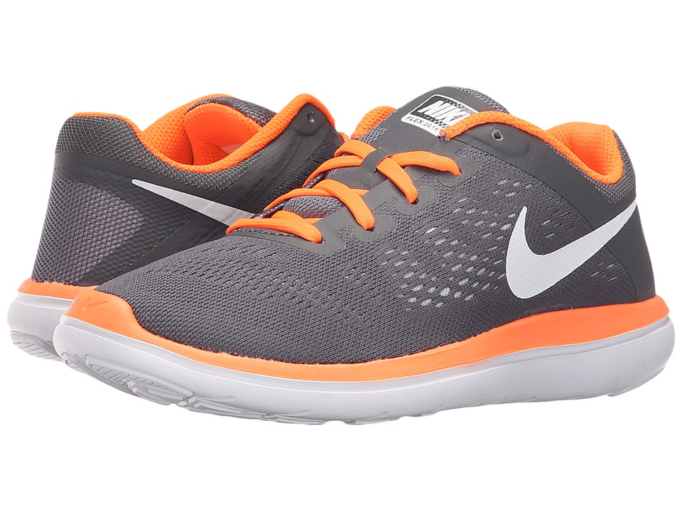 Nike Kids Flex 2016 RN (Big Kid) (Dark Grey/White/Total Orange) Boys Shoes