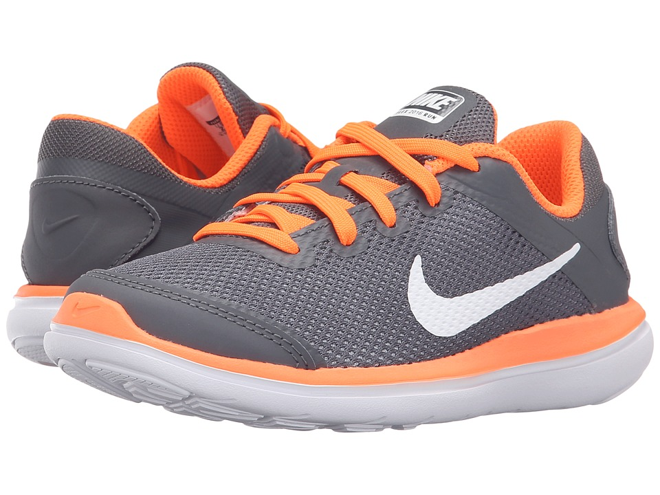 Nike Kids - Flex 2016 RN (Little Kid) (Dark Grey/White/Total Orange) Boys Shoes