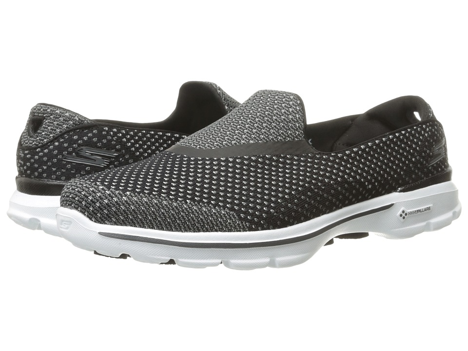 SKECHERS Performance - Go Walk 3 - Go Knit (Black/White) Women's Shoes