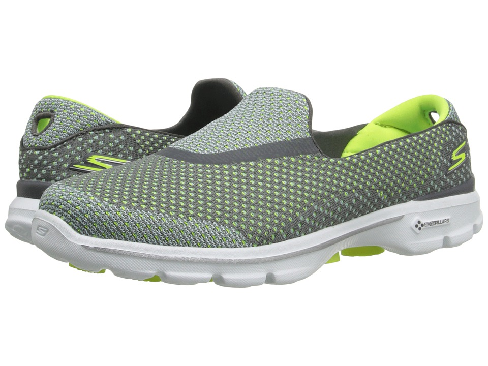 SKECHERS Performance - Go Walk 3 - Go Knit (Gray/Lime) Women's Shoes