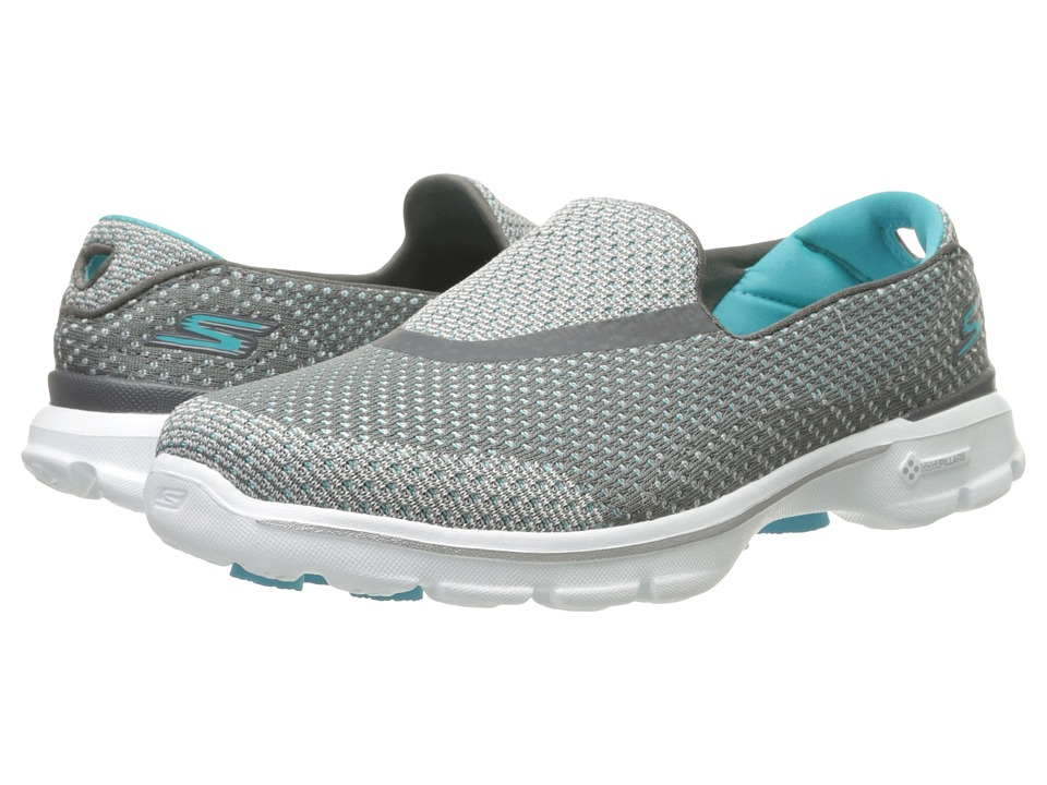 SKECHERS Performance - Go Walk 3 - Go Knit (Charcoal/Blue) Women's Shoes