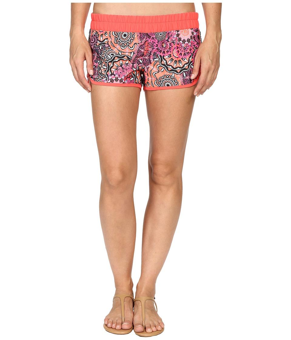 Hurley - Supersuede Printed Beachrider Boardshorts (Ember Glow) Women's Swimwear