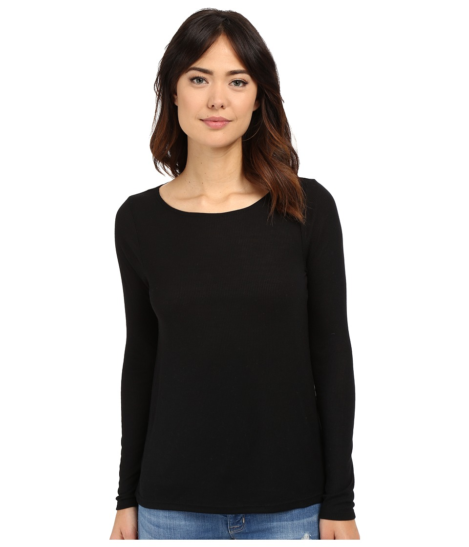 Volcom Lived in Rib Long Sleeve Top (Black Combo) Women
