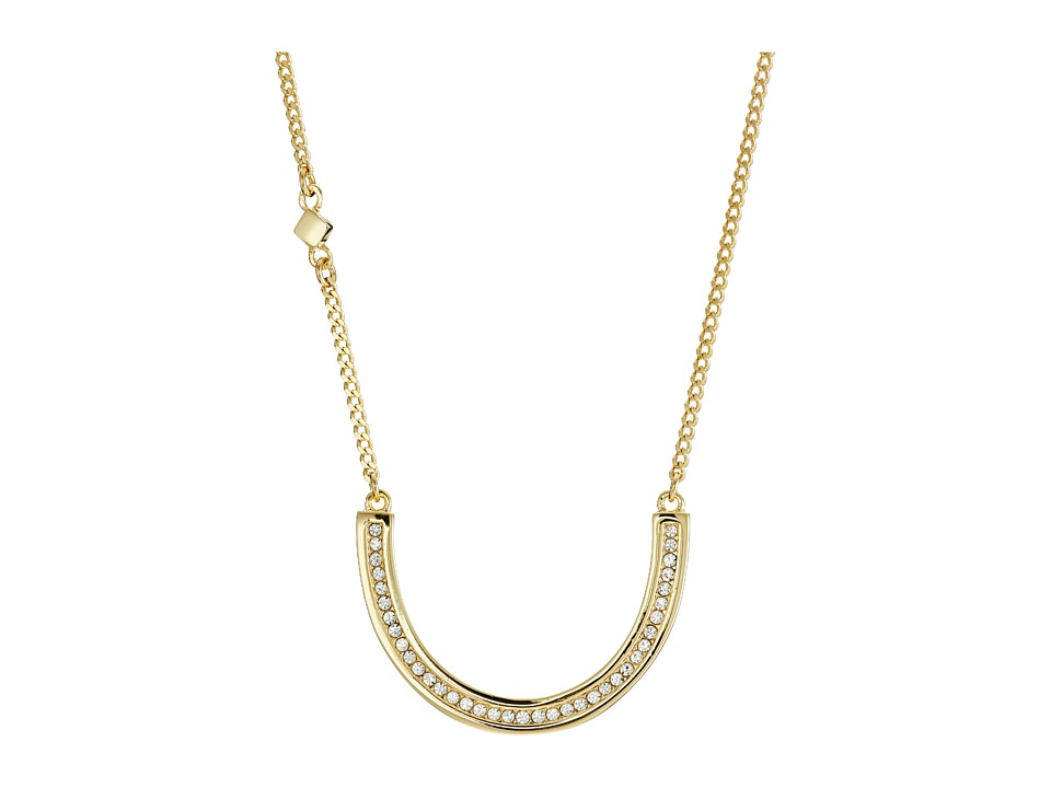 Cole Haan - 17 U Shape Crystal Pendant Necklace (Gold/Crystal) Necklace