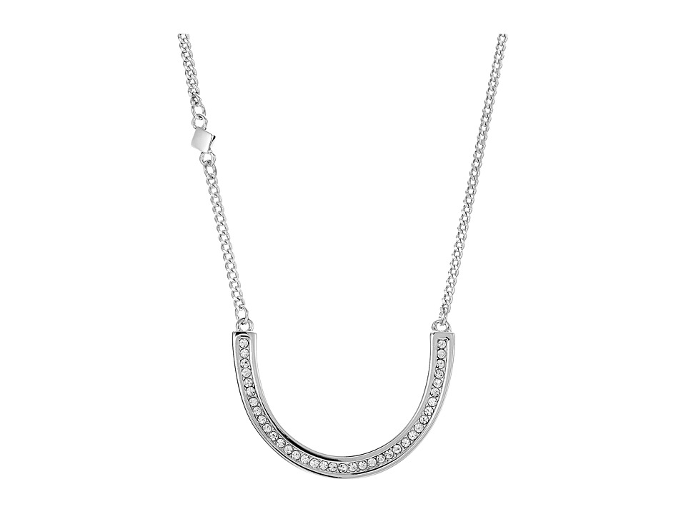 Cole Haan - 17 U Shape Crystal Pendant Necklace (Silver/Crystal) Necklace