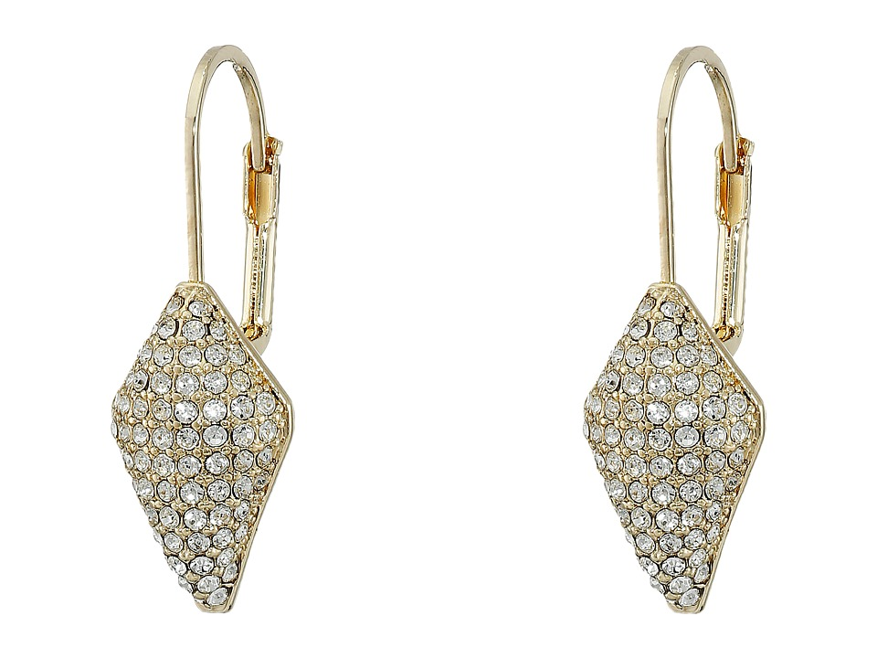 Cole Haan - Pave Lever Back Drop Earrings (Gold/Crystal) Earring