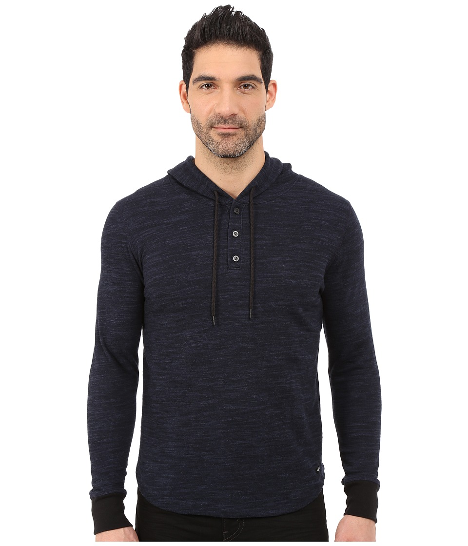 UNCL - Highline Slub Hooded Henley (Navy) Men's Sweatshirt