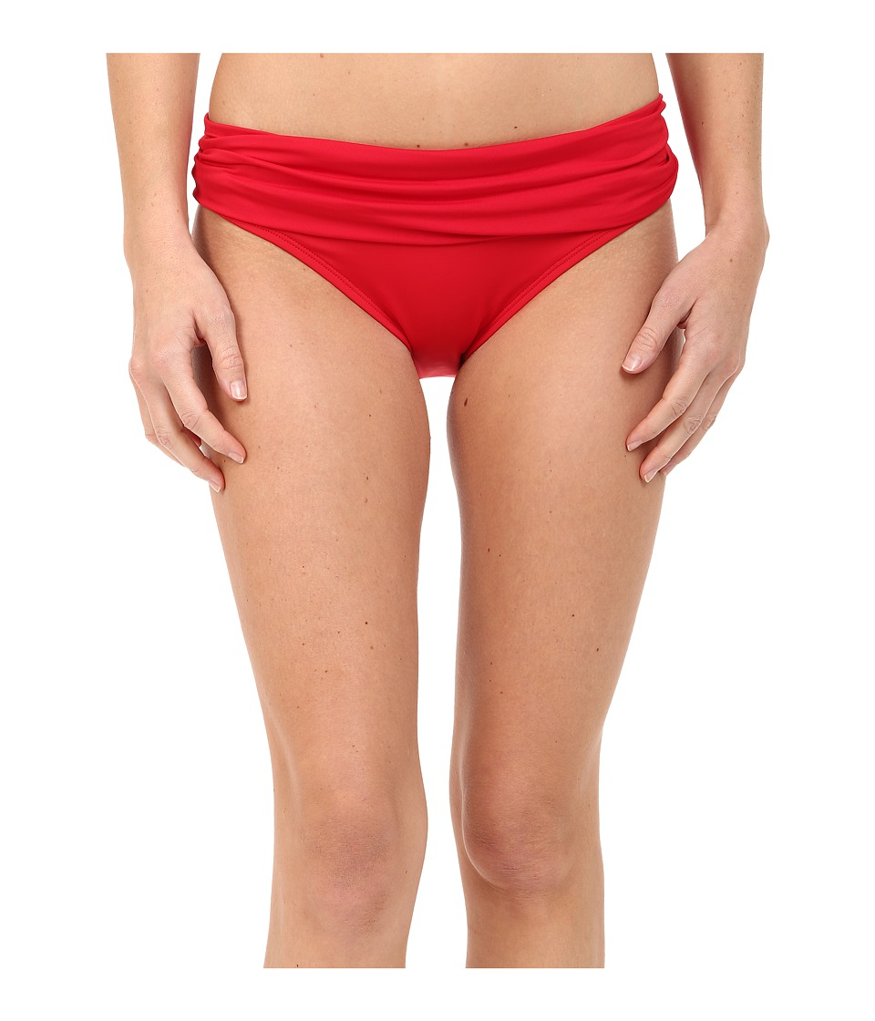 La Blanca - Island Goddess Shirred Waist Hipster Bottom (Lipstick) Women's Swimwear