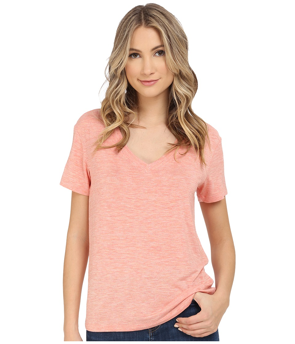 Splendid Heathered Spandex Jersey Tee (Heather Coral) Women