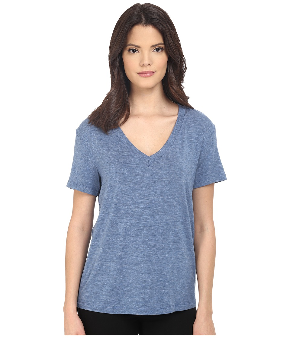 Splendid Heathered Spandex Jersey Tee (Heather Denim) Women
