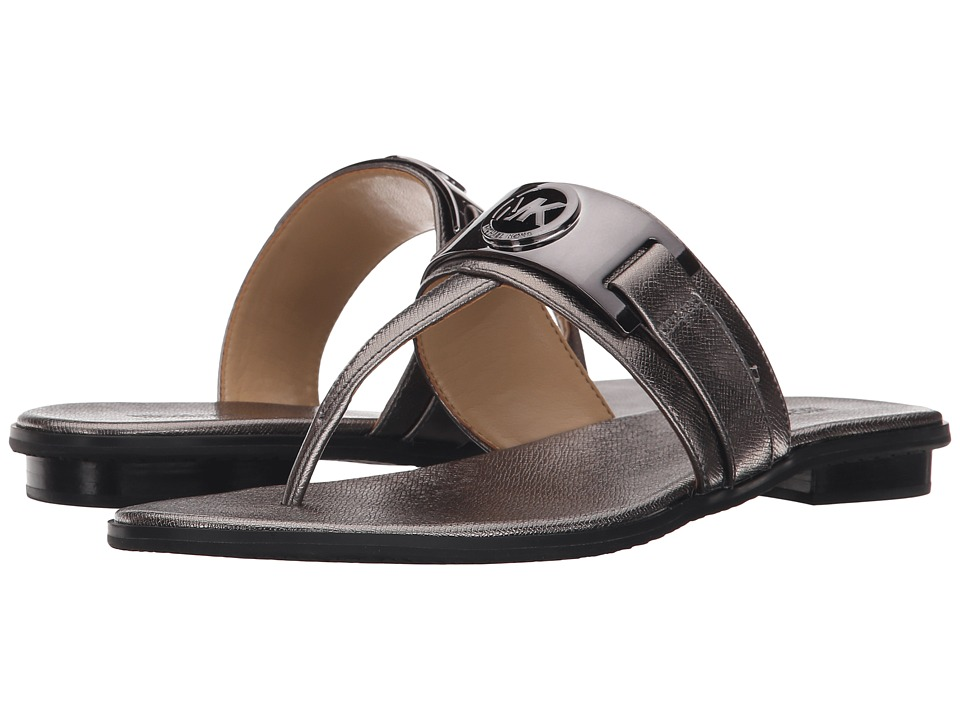MICHAEL Michael Kors - Warren Thong (Gunmetal Metallic Saffiano) Women