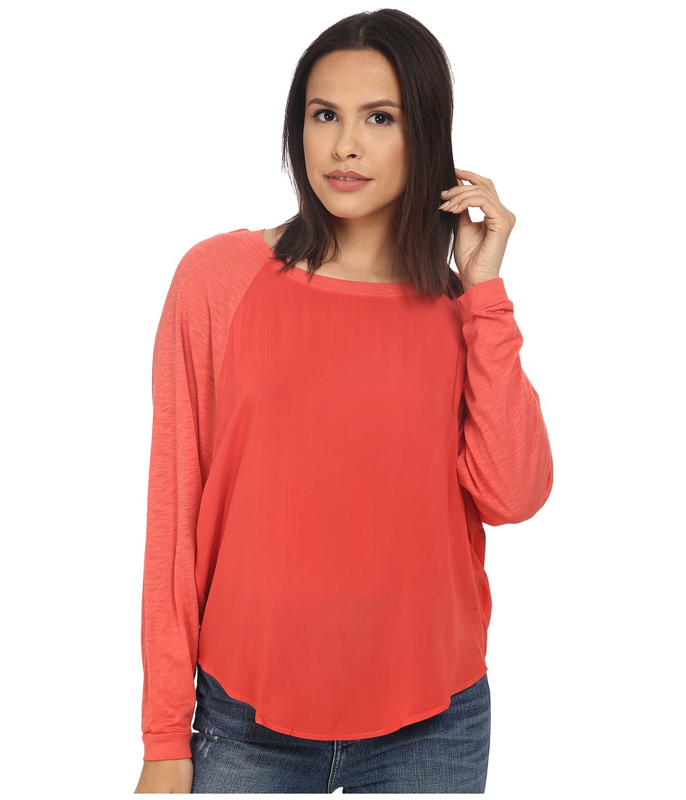 Splendid - Slub and Rayon Dolman (Fusion Coral) Women's Clothing