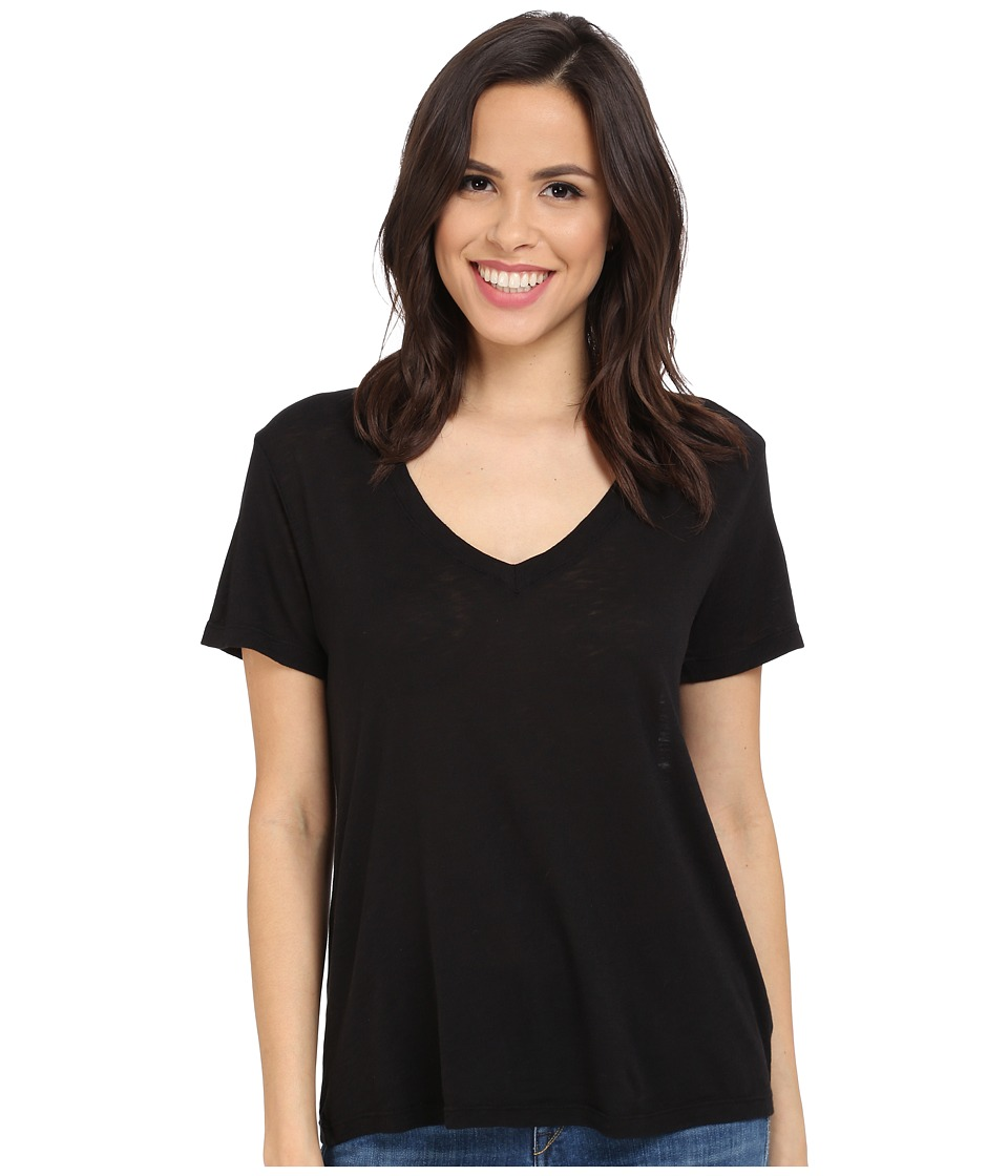 Splendid - Slub Jersey V-Neck (Black) Women's Short Sleeve Pullover