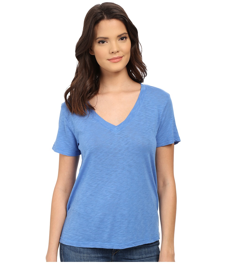 Splendid - Slub Jersey V-Neck (Nautical Blue) Women's Short Sleeve Pullover