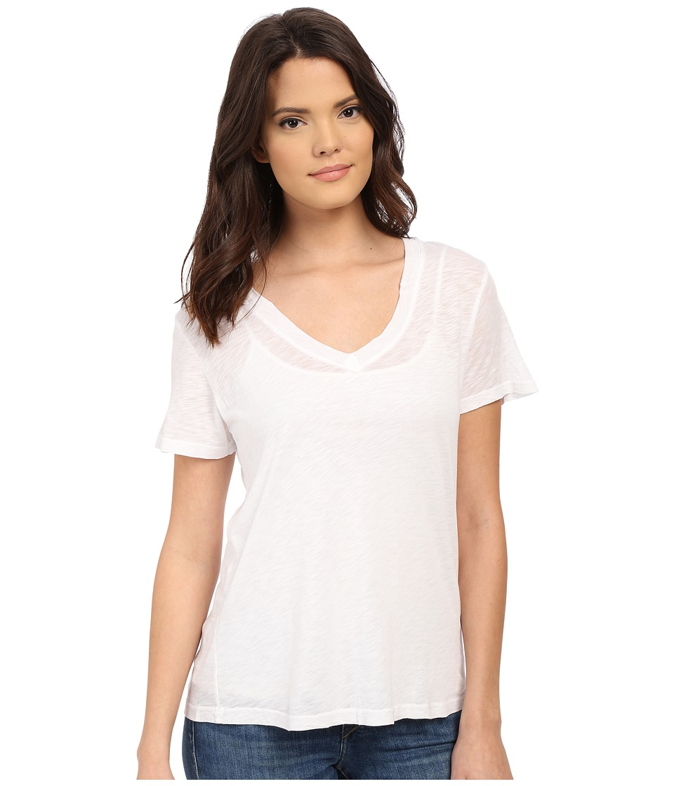 Splendid - Slub Jersey V-Neck (White) Women's Short Sleeve Pullover