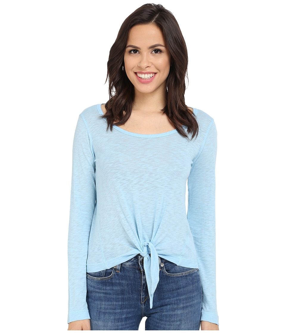 Splendid - Slub Jersey Tie Front Long Sleeve (Sky Blue) Women's Clothing