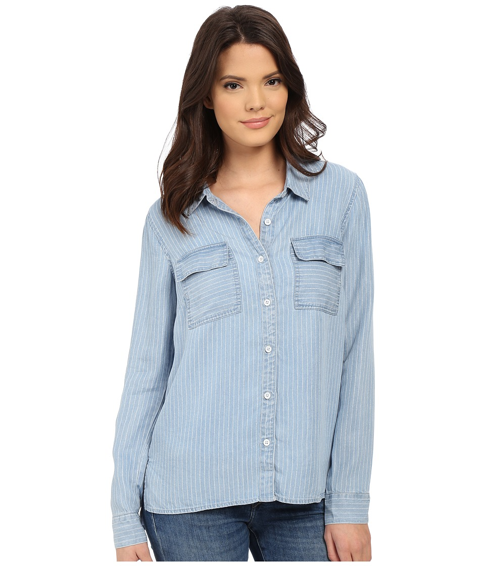 Splendid - Faded Pinstripe Shirt (Light Wash) Women's Clothing