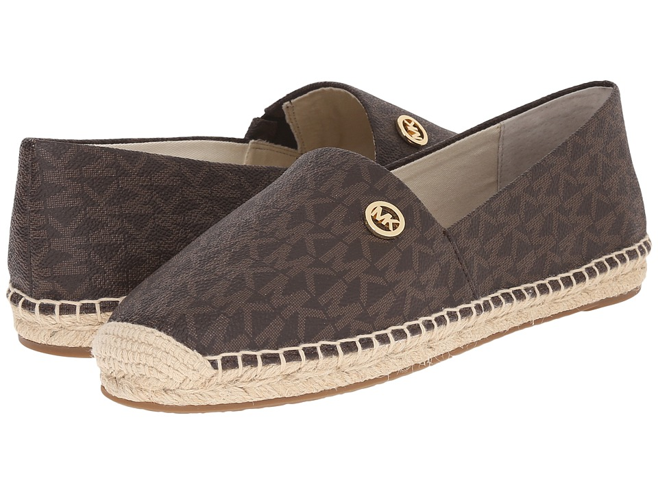 MICHAEL Michael Kors - Kendrick Slip-On (Brown Mini Mk Sig Pvc) Women's Slip on Shoes