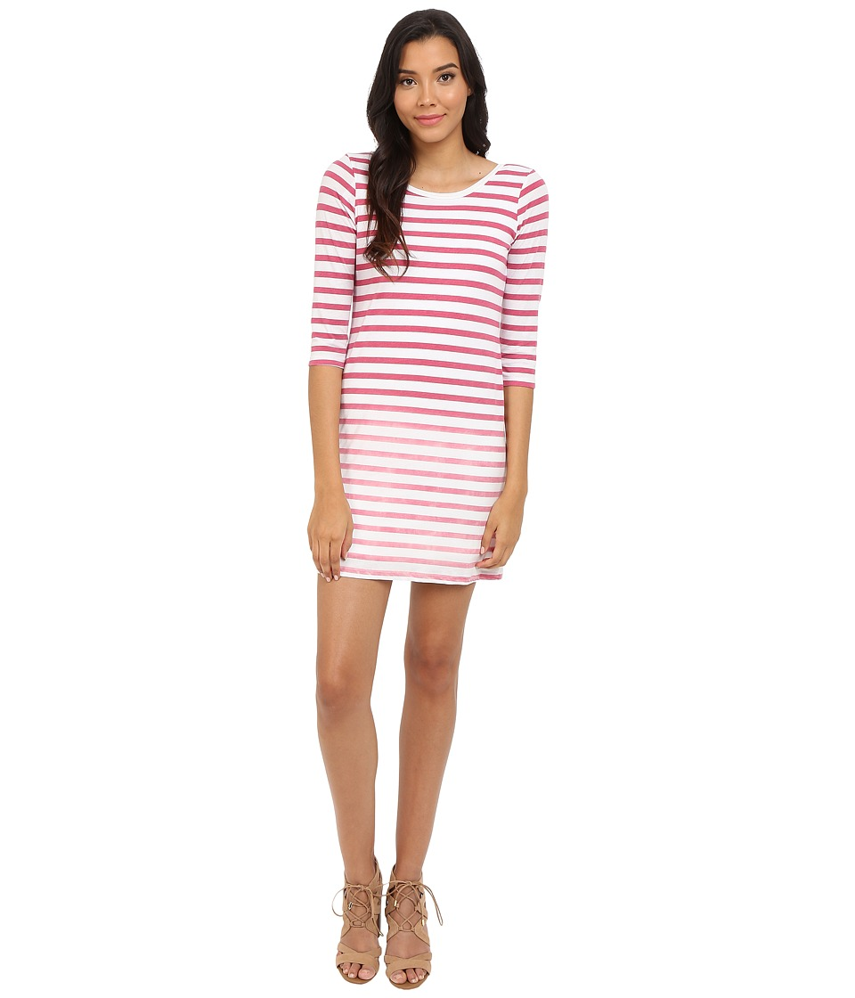Splendid - Sunfaded Stripe Jersey Dress (Fuchsia Rose) Women's Dress