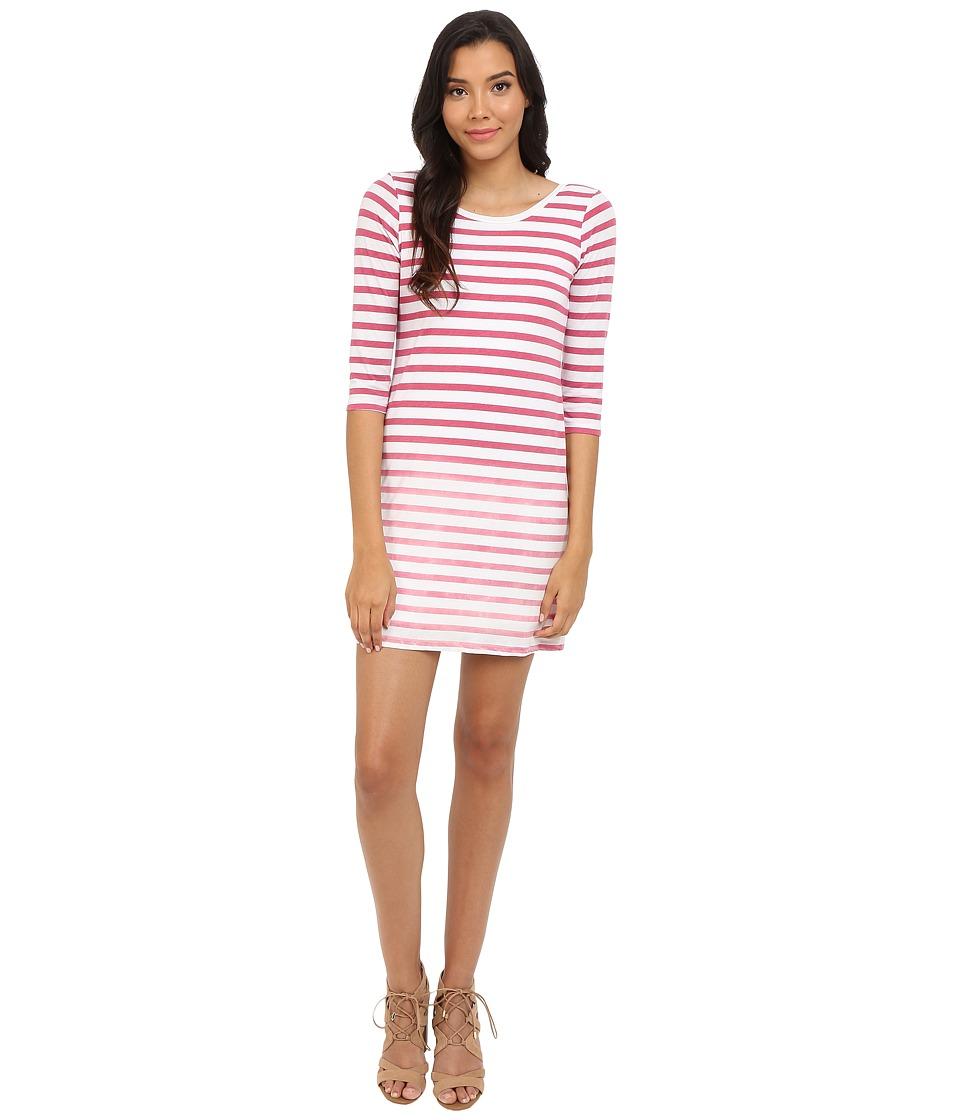 Splendid Sunfaded Stripe Jersey Dress (Fuchsia Rose) Women