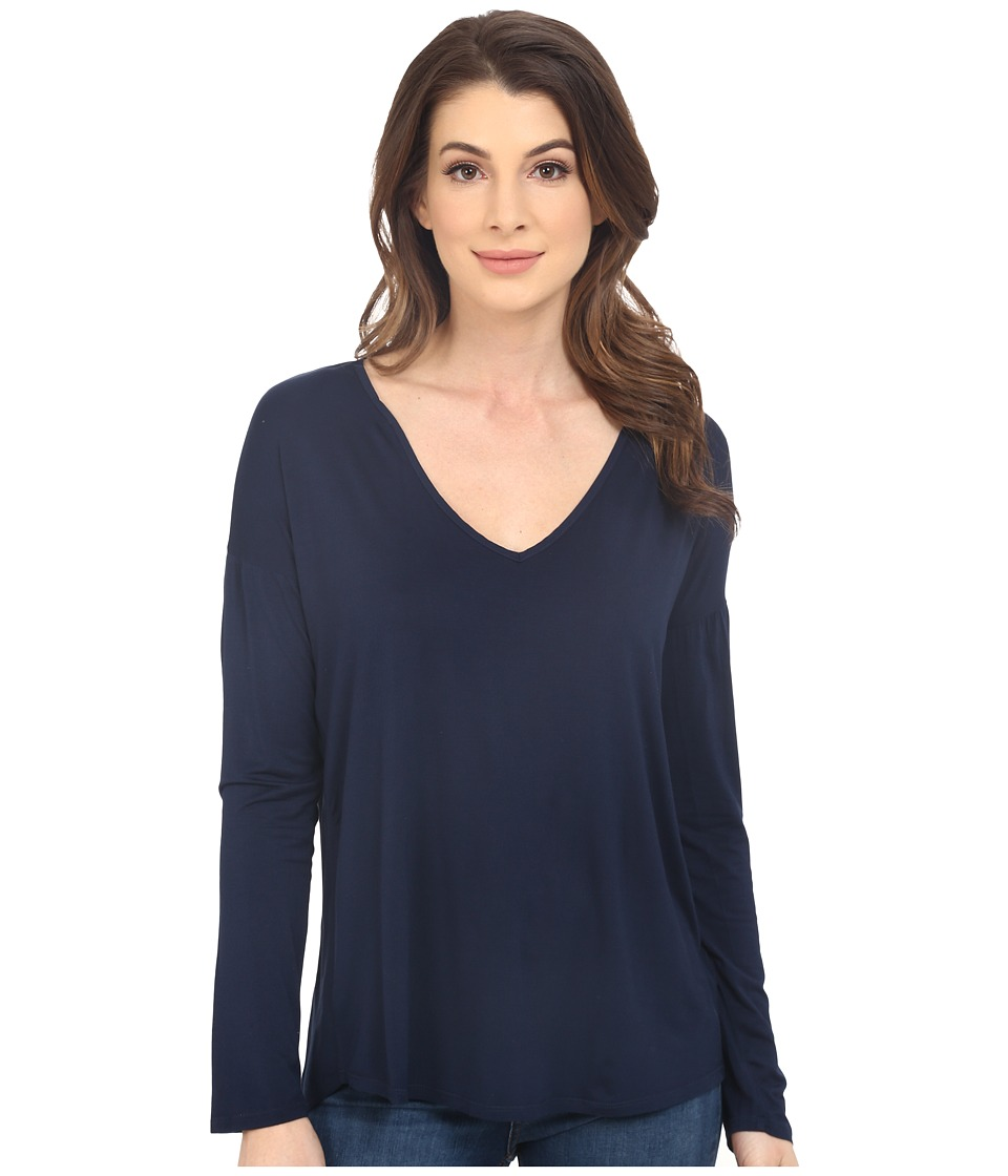 Splendid Rayon Jersey Long Sleeve Tee (Navy) Women