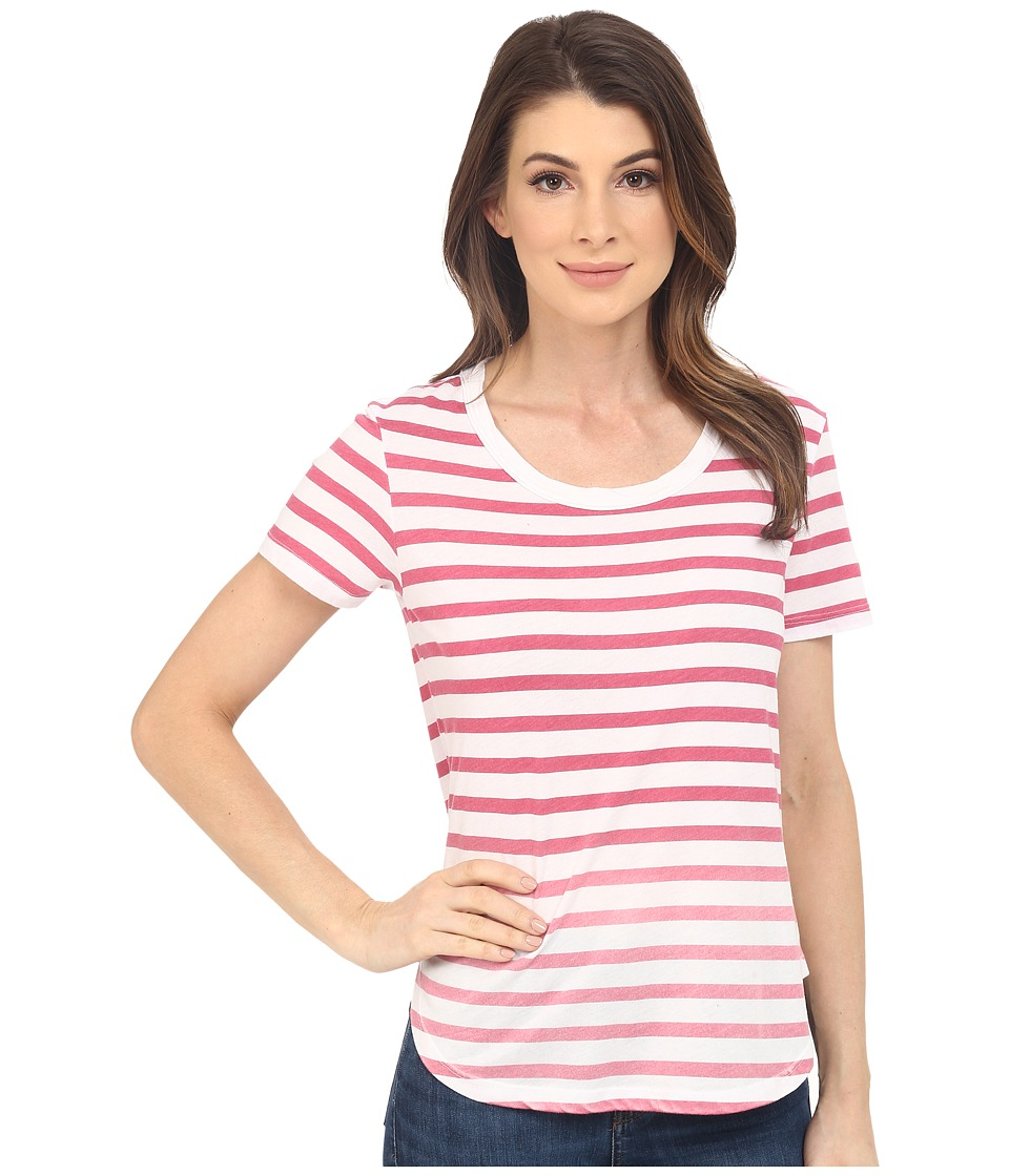 Splendid Sunfaded Stripe Jersey Tee (Fuchsia Rose) Women