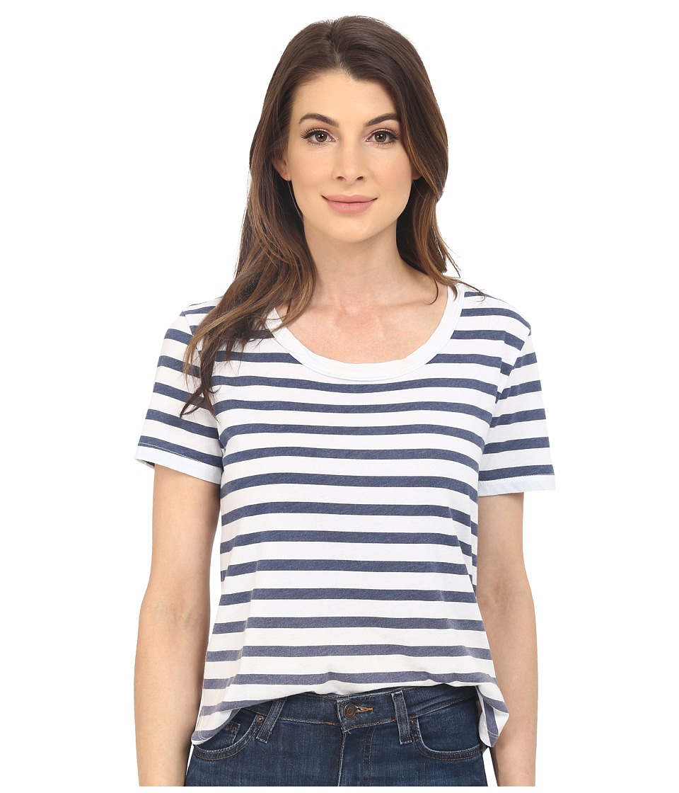 Splendid Sunfaded Stripe Jersey Tee (Navy) Women