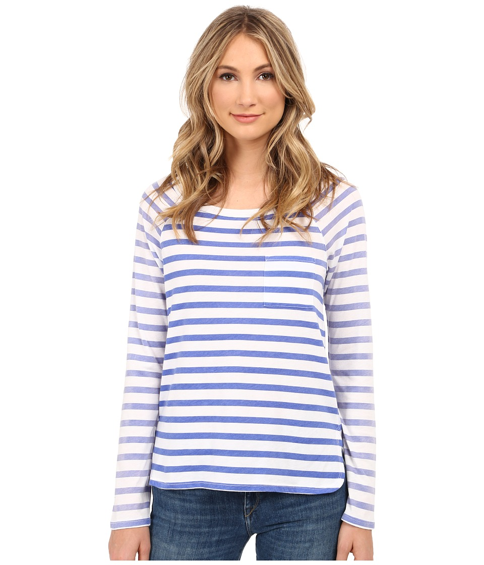Splendid - Sunfaded Stripe Jersey Long Sleeve Tee (Monaco Blue) Women's T Shirt