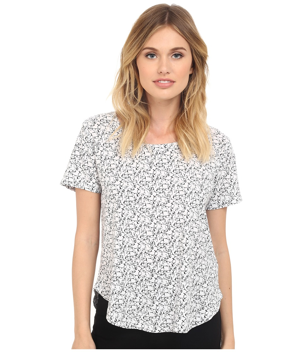 Splendid - Spectacles Print Tee (White) Women's T Shirt