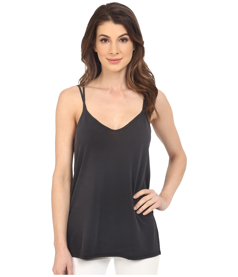 Splendid - Sandwash Jersey with Drapey Lux Tank Top (Black/Charcoal) Women's Sleeveless