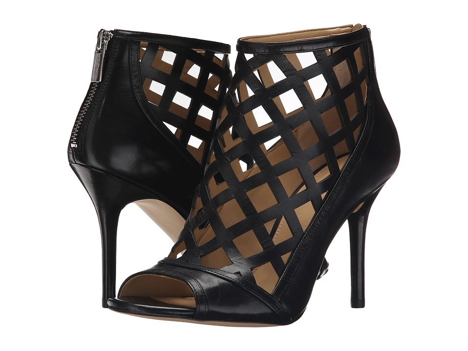 MICHAEL Michael Kors Yvonne Open Toe Bootie (Black Smooth Calf) High Heels
