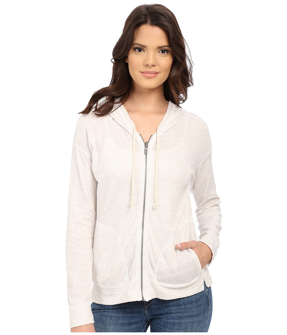 Splendid - Bias Stripe Active Hoodie (White) Women's Sweatshirt